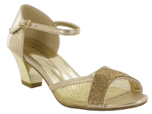 Ladies Women Sparkling Diamante Mid Block  Heel Party Shoes Ankle Buckled Sandal