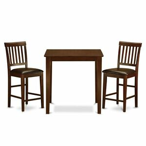 3pc counter height pub set table 2 bar stool leather