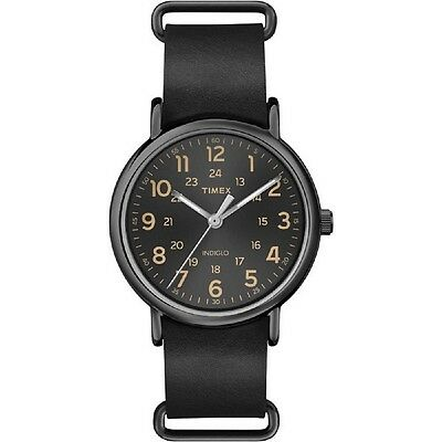 Timex Orologio Watch Man Uomo Uhr Weekander T2P494 Pelle Sottile Nero Black Luce