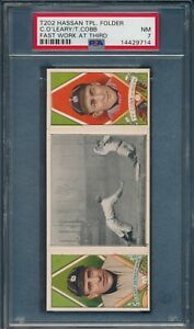 1912-T202-Hassan-Triple-Folder-FAST-WORK-AT-THIRD-Ty-Cobb-O-039-Leary-PSA-7-NM-HOF