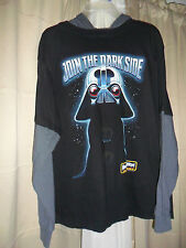 NWOT JOIN THE DARK SIDE  Black Angry Birds Star War T-Shirt w/Hoodie Sz 14/16
