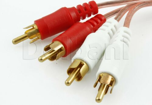 17-1640 New 6 Ft Gold Plated Lexon Transparent Pre-Cut Dual Audio RCA Cable