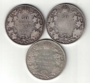 3-X-CANADA-50-CENTS-GEORGE-V-CANADIAN-STERLING-SILVER-COINS-1913-1914-1916