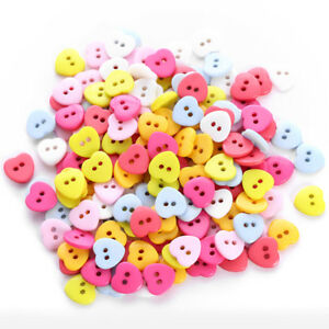 24pcs-Bag-Heart-Mixed-Colors-Resin-Buttons-Fit-Sewing-or-Scrapbook-Nh