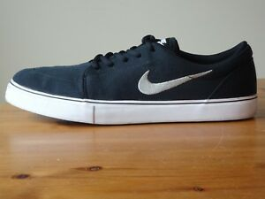 Nike Sb Satire Canvas Loafers 555380 001 Black White Mens Size