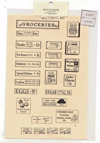 Store Signs MUL2082-1//12 Scale dollhouse miniature Groceries