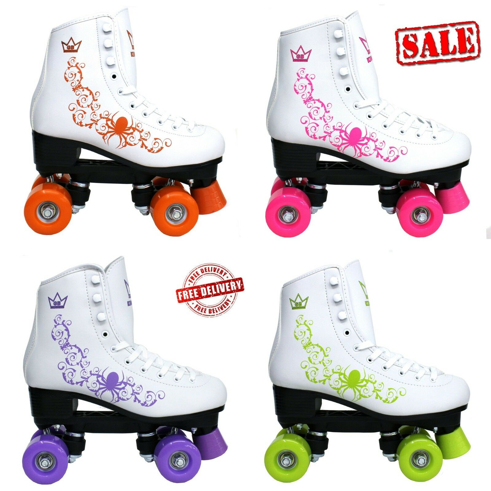KINGDOM GB QUAD ROLLER SKATES VECTOR RETRO DISCO GIRLS Damenschuhe Stiefel Rosa lila