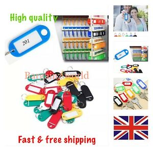 Pack-of-5-10-15-20-Plastic-Colour-Key-Tags-with-Paper-Inserts-Split-Rings
