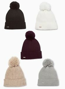 NWT-Calvin-Klein-Women-039-s-Solid-Ribbed-Pom-Pom-Beanie-Choose-Color-38