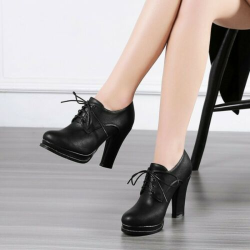 New Women Pumps Office Work OL Lace Ups Round Toe Block High Heel Casual Shoes B