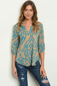 New-Ladies-USA-Damask-Print-Casual-V-Neck-Western-Tunic-Top-Blouse-S-M-L