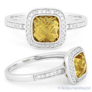 1-56ct-Checkerboard-Citrine-amp-Round-Cut-Diamond-Pave-Halo-Ring-in-14k-White-Gold