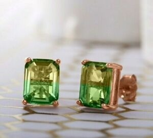 Morganite-Emerald-Bi-Color-5-00ct-14k-Rose-Gold-Baugette-Cut-Stud-Earring-ITALY