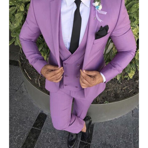 Men Light Purple 3 Piece Slim Fit Suit Formal Groom Tuxedos Wedding Suit Custom