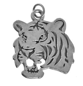 New-Sterling-Silver-Savage-Tiger-head-bust-charm-ferocious-Beast-Power-Strength