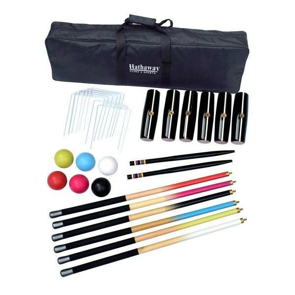 Hathaway Deluxe 6-Player Croquet Set Multicolord with Balls, Stakes and Mallets