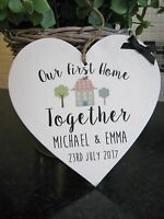 Our First Home Plaque Wooden Heart Gift Personalised House Warming New Home