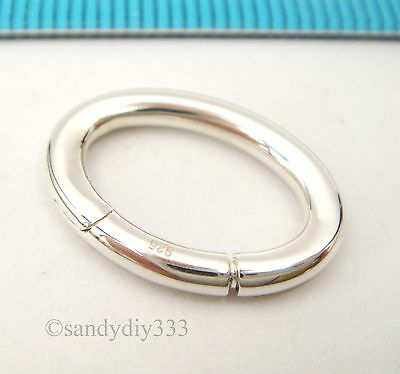 1x STERLING SILVER CHANGEABLE PENDANT CLASP BAIL SLIDE Donut Holder 18mm #2448