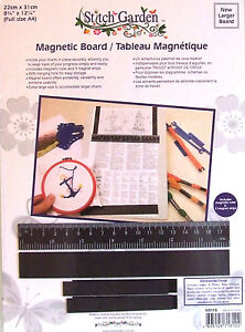 Magnetic-Board-for-Cross-Stitch-Charts-Incl-Ruler-3-Strips-Full-A4-Size