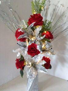 Details About Artificial Silk Flower Arrangement In Red Silver Glitter Vase Lights Butterfly