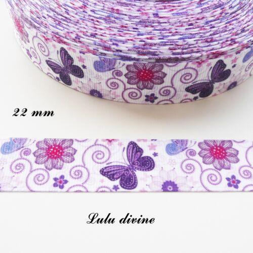 Ruban gros grain blanc Arabesque Fleur /& Papillon violet de 22 mm vendu au mètre