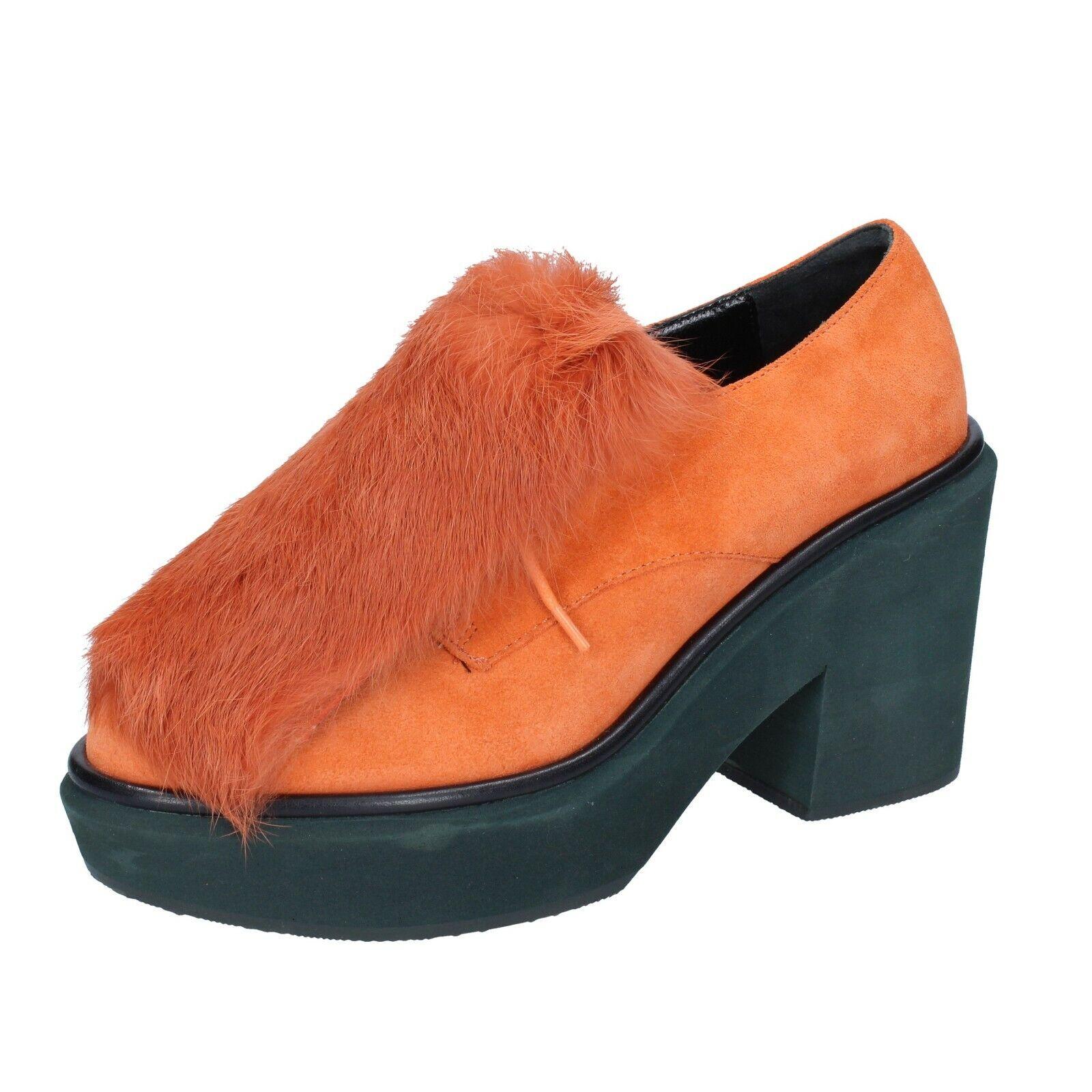Woherren schuhe PALOMA BARCELO' 6 (EU 36) elegant Orange suede fur BS261-36