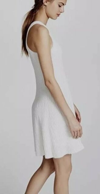 b9ea0202a382 NWD P THEORY Clean Cotton Ottoman Knit Knee-Length Tank Dress, White($375