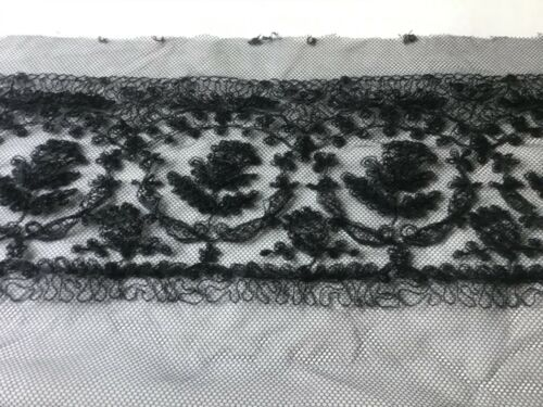 9 1//2 YDS  BLACK BEADED CORD FLORAL EMBRDROIDERED ON POLY NET LACE.