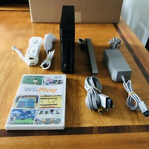 Nintendo-Wii-Black-Console-RVL-101-With-Wii-Play-Tested