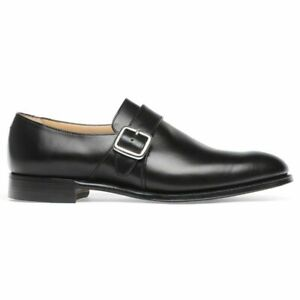 86ebed9a3a Image is loading Mens-Handmade-Shoes-Black-Leather-Single-Monk-Strap-