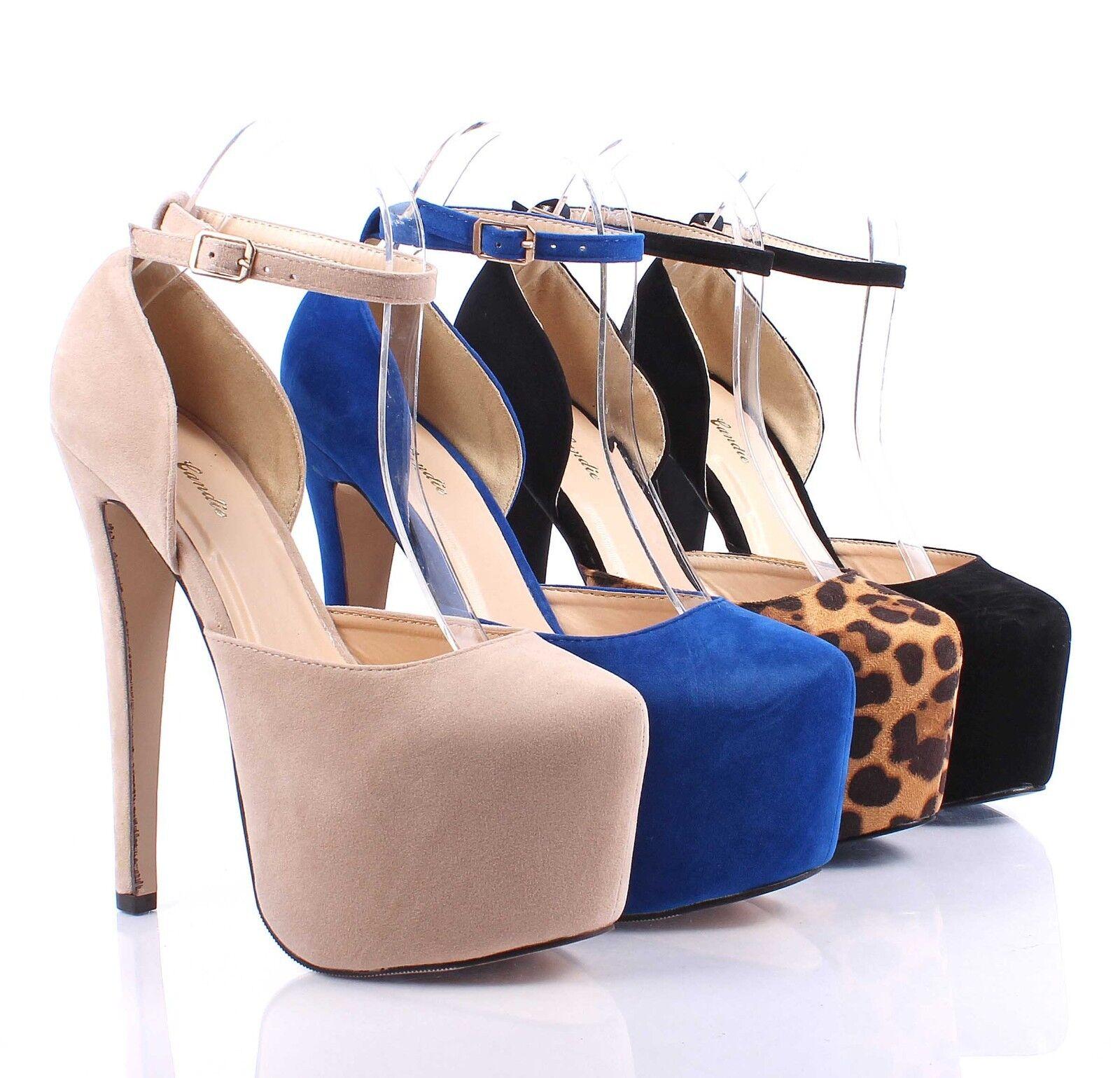 Fashion Stilettos Faux Suede Strap Buckle Pump Party Sexy Womens 6.5  High Heels