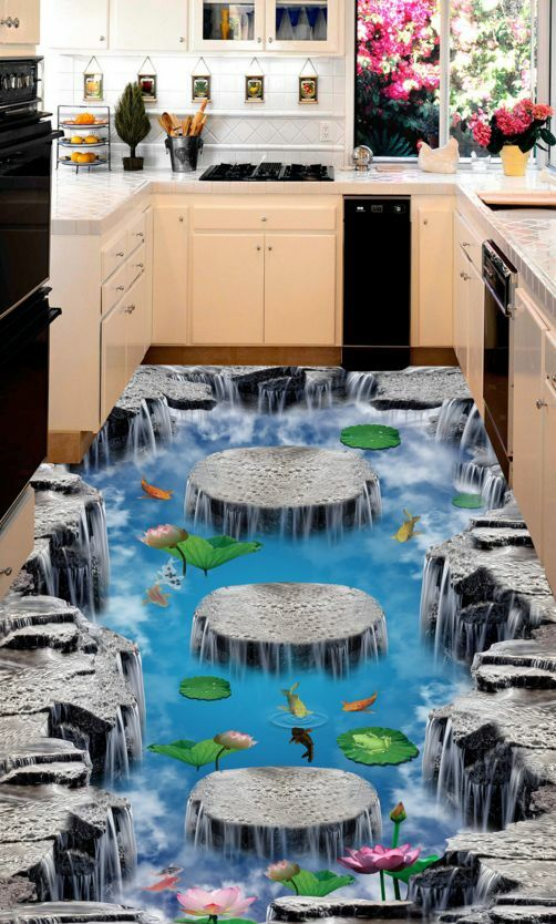 3D Lotus goldfish Pond 2 Floor WallPaper Murals Wall Print Decal 5D AJ WALLPAPER