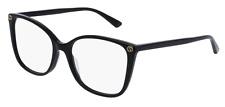 Authentic Gucci Gg0026o 001 Black Plastic Square Eyeglasses 53mm