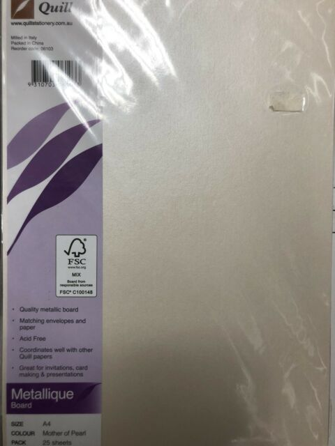 Quill A4 285gsm Metallique Board Mother Of Pearl 25 Pack