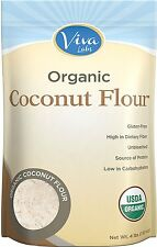 Viva Labs Organic Coconut Flour Non-GMO, and Gluten-Free, Organic, 4 lb Bag NEW