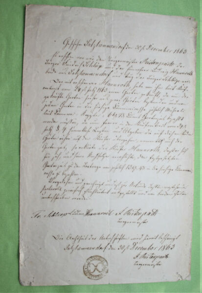Bescheiden Antikes Schreiben / Urkunde / Brief / Manuskript Aus Dem Jahr 1863 Ein Kunststoffkoffer Ist FüR Die Sichere Lagerung Kompartimentiert
