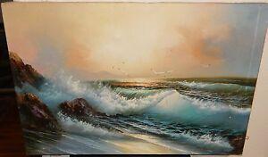 Image Is Loading A Kirkham Original Oil On Canvas Seascape Painting