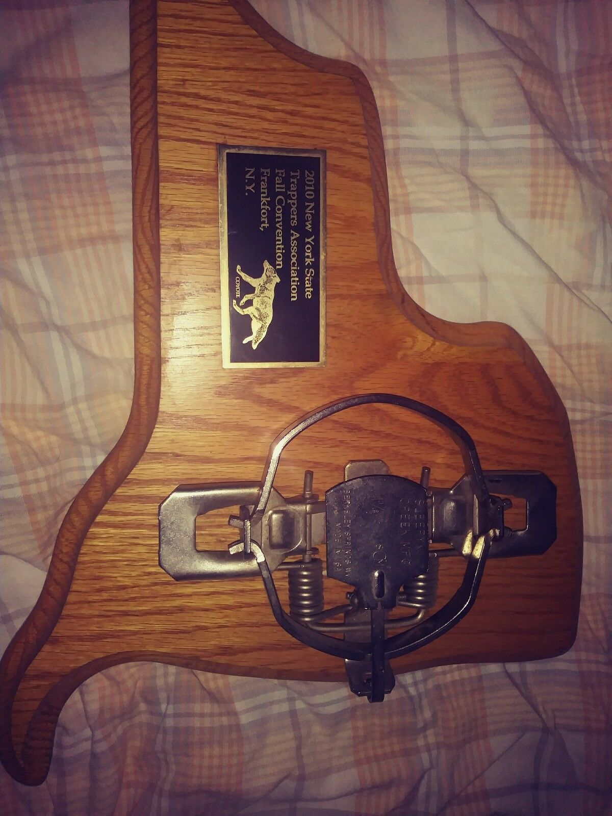 N.Y.S.Trappers Ass. Herkimer 2010 with Coyote on it. Collector's Plaque