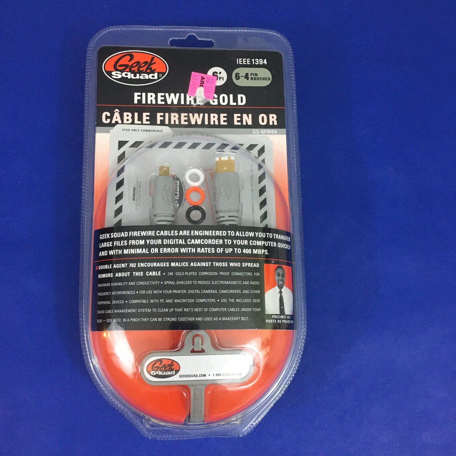 Geek Squad Firewire Gold 6' 6-4 Pin New IEEE 1394