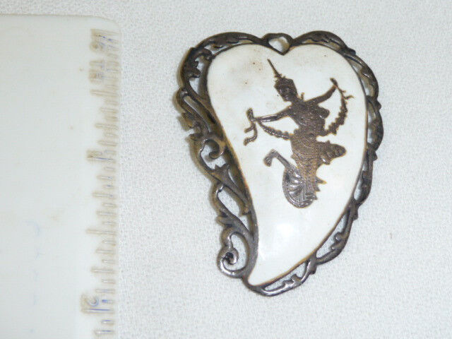 Vtg Signed SIAM STERLING Leaf Shaped Pin pendent  White Enamel Dancing Lady
