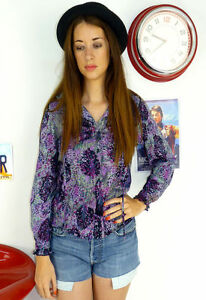 WOMENS-VINTAGE-80-039-S-PURPLE-FLORAL-PATTERNED-FRILL-COLLAR-BLOUSE-SHIRT-8-10