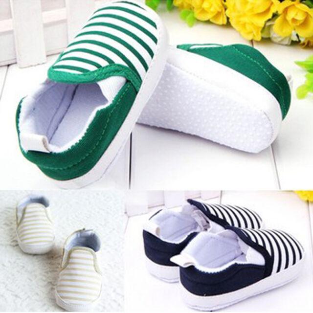 Kids Baby Toddler Cotton Shoes Boy Girl Stripe Slip On Canvas Anti-Slip Sneakers