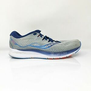 Saucony Mens Ride ISO 2 S20514-1 Gray Blue Running Shoes Lace Up Size 10.5