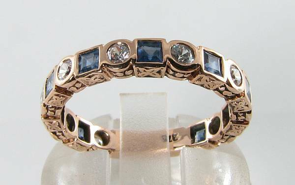 ENGAGEMENT 9CT 9K pink gold THREE QUARTER SAPPHIRE & DIAMOND ART DECO INS RING
