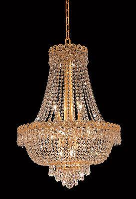 "26""H 12 Light Dining Crystal Chandelier Light Gold Lamp"