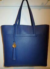 Item 1 Cole Haan Natalie Navy Blue Peony Italian Leather Tote Handbag W Tassel Accent