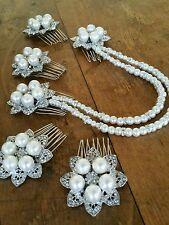 Bridal bridesmaid set x5 Floral Ivory Pearl Diamante Draping Hair Combs vintage