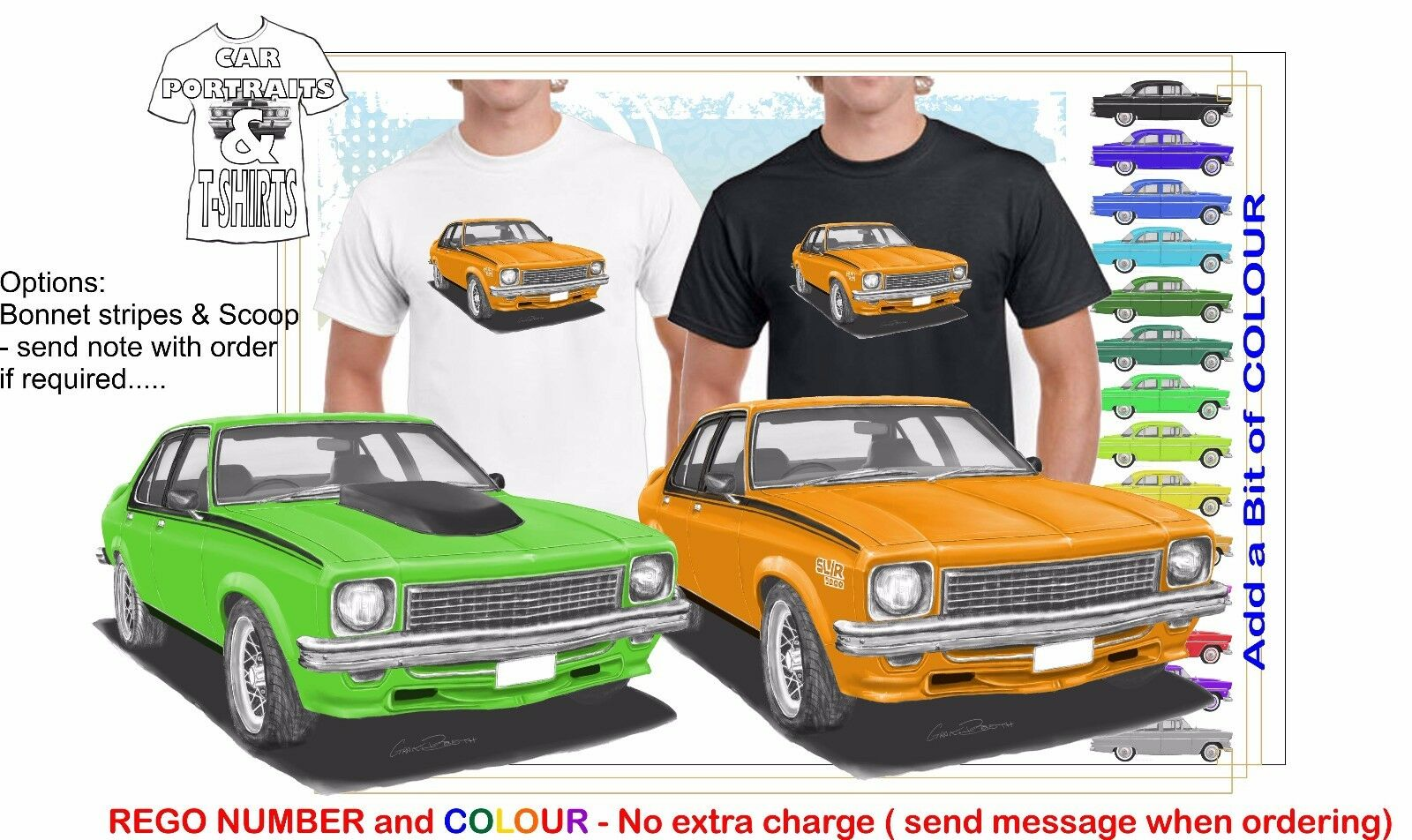 CLASSIC 74-76 LH SLR HOLDEN TORANA ILLUSTRATED T-SHIRT MUSCLE RETRO SPORTS