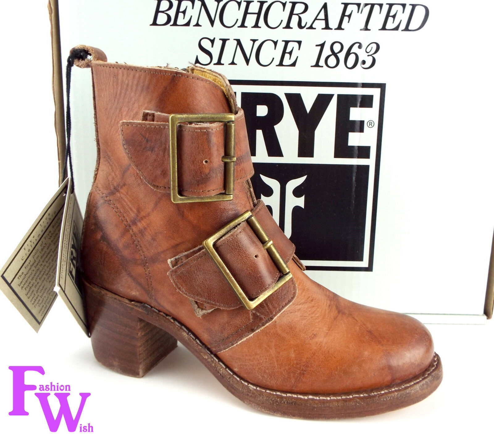 New FRYE Size 6 SABRINA Double Buckle Saddle Leather Leather Leather Stone Washed Ankle Boots 2146b8