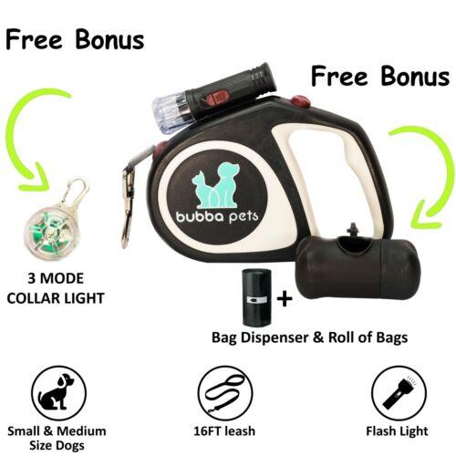Retractable Dog Leash with Light Poop Bag Dispenser /& Collar Light,Bundle 16Ft